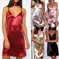 Women Sexy Club Wear Dress Sleeveless Solid Mini Dress Strappy Deep V Neck Backless Smooth Loose Dress Cross Bandage Dress