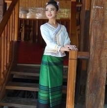 China YunNan Xishuangbanna Dai Traditional Clothing White Long Sleeve Green Skirt Waiters Life Workwear Ethnic Special Uniform
