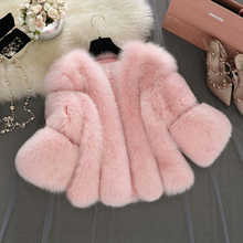 2016 Autumn Winter Elegant Women Faux Fox Fur Coat Short Pink Fur Coat Female Faux Fur Jacket Gilet Fourrure manteau femme S-4XL