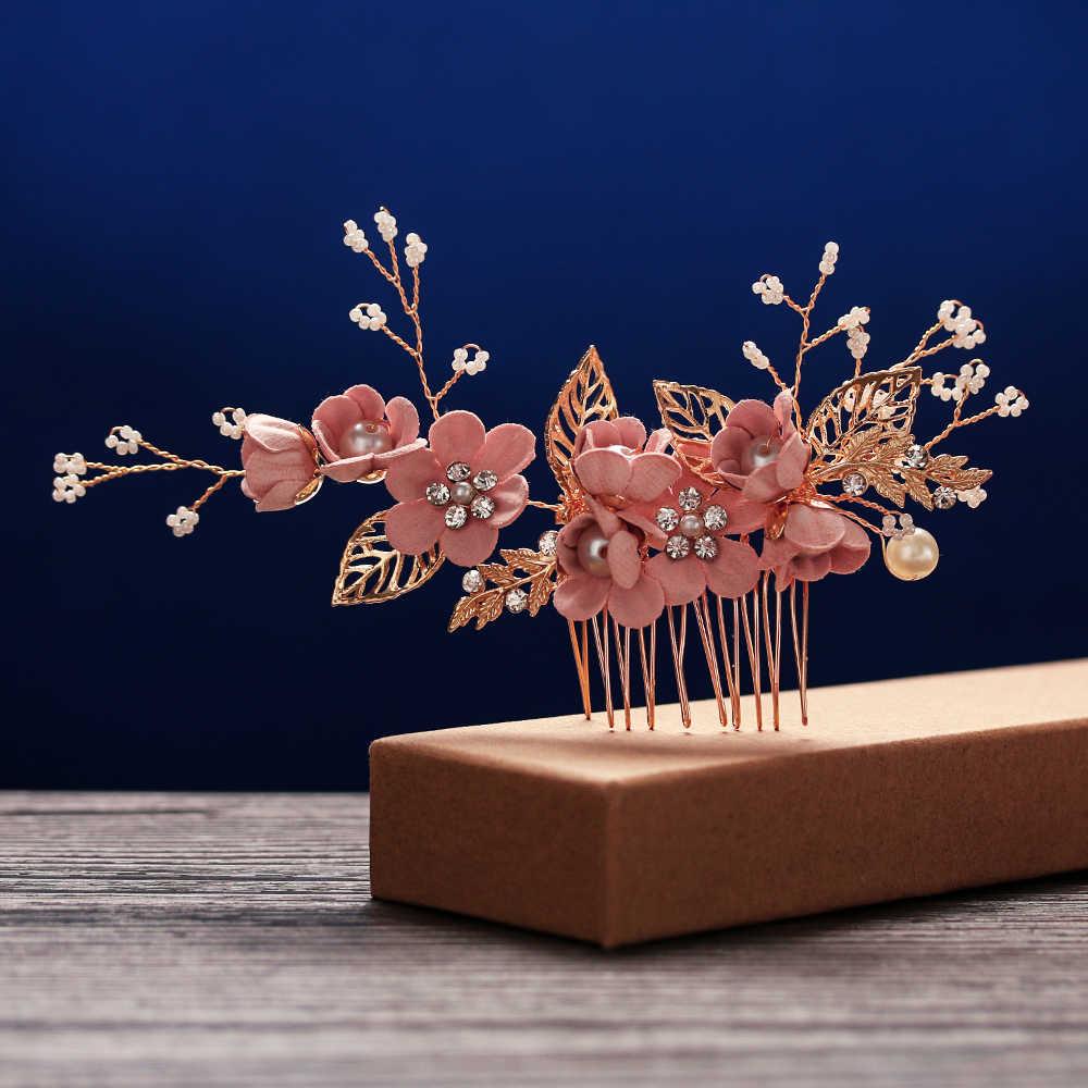 Роскошный синий цветок расчески для волос повязка на голову Выходные туфли на выпускной бал свадебные аксессуары для волос, золотистый листья украшение для волос шпильки