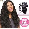 10A Virginal Malasio Del Pelo Clip Recto En Extensiones de Cabello Humano 7/10 Unids Malasio Recto Clip Afroamericana En Tejidos de pelo