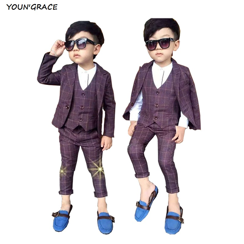 2016 New 3PCS Boys Red Plaid Formal Wedding Suit Gentle Boys Winter & Spring Blazers Kids Party Evening Tuxedos Boys Suits, C1552016 New 3PCS Boys Red Plaid Formal Wedding Suit Gentle Boys Winter & Spring Blazers Kids Party Evening Tuxedos Boys Suits, C155