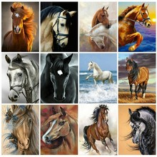 Huacan Diamond Embroidery Horse 5D DIY Painting Cross Stitch Animal Mosaic Rhinestones Picture Home Decor