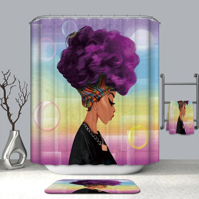 African Woman 3D Shower Curtains Waterproof Polyester Fabric Bath Screen Bathroom Curtains Home Decoration 180X180CM