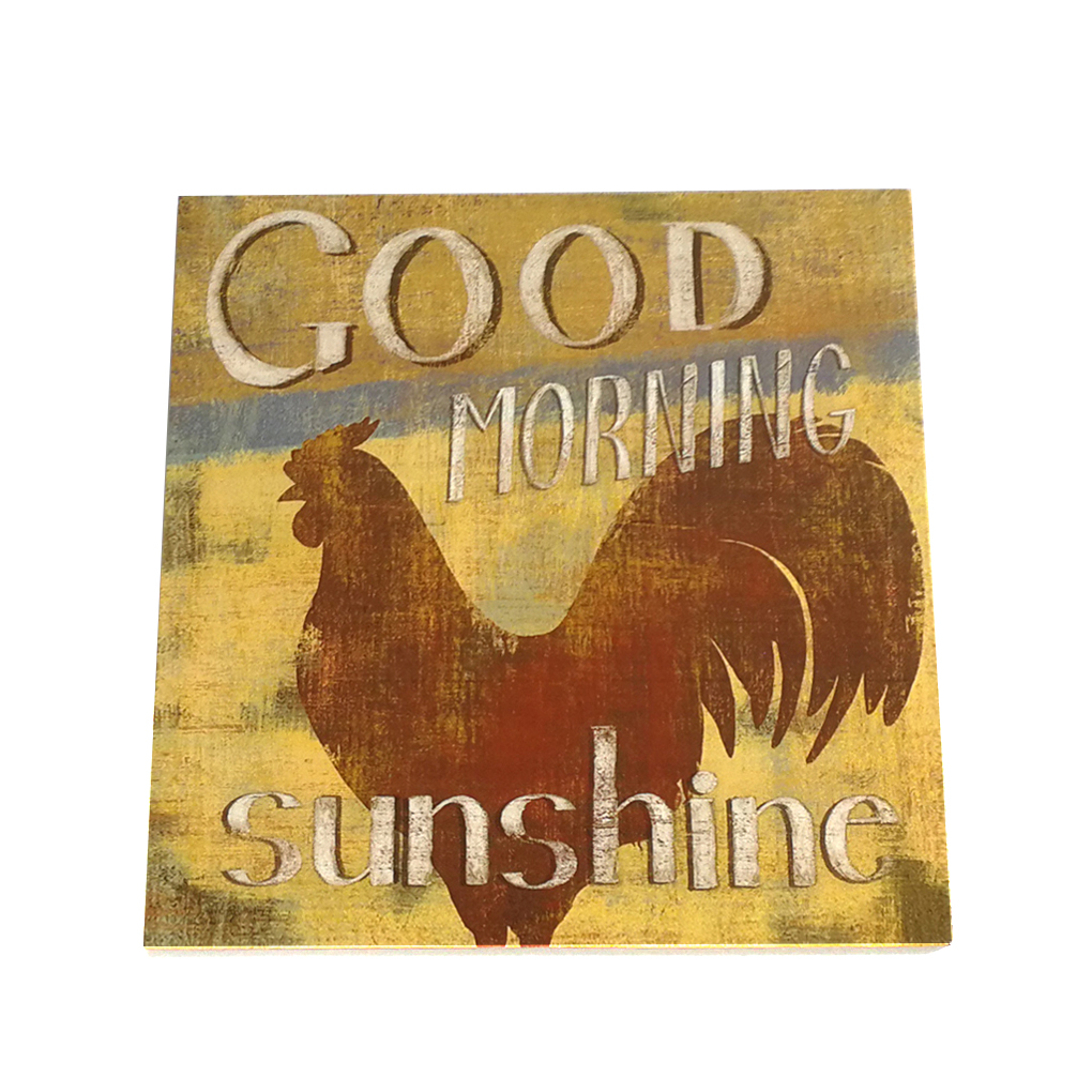 Retro Hen Good Morning Sunshine Letter Wooden Plaque Wall Decor Hanging Pendant Sign Board for Farm Ranch Plank