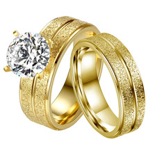 New Design Stainless Steel Couple Ring Golden Double-Rowed Frosted Woman Men