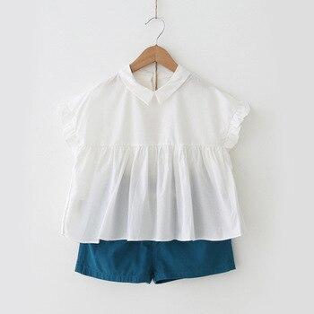 Conjuntos de ropa para niñas de algodón de verano Peter Pan con cuello superior + conjuntos cortos de dos piezas para niños traje de ropa Casual para niñas