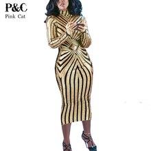 Womens Sexy Dresses Party Night Club Dress 2017 Summer Gold  Geometric Sequin Midi Dress Long Sleeve Evening Long Dresss