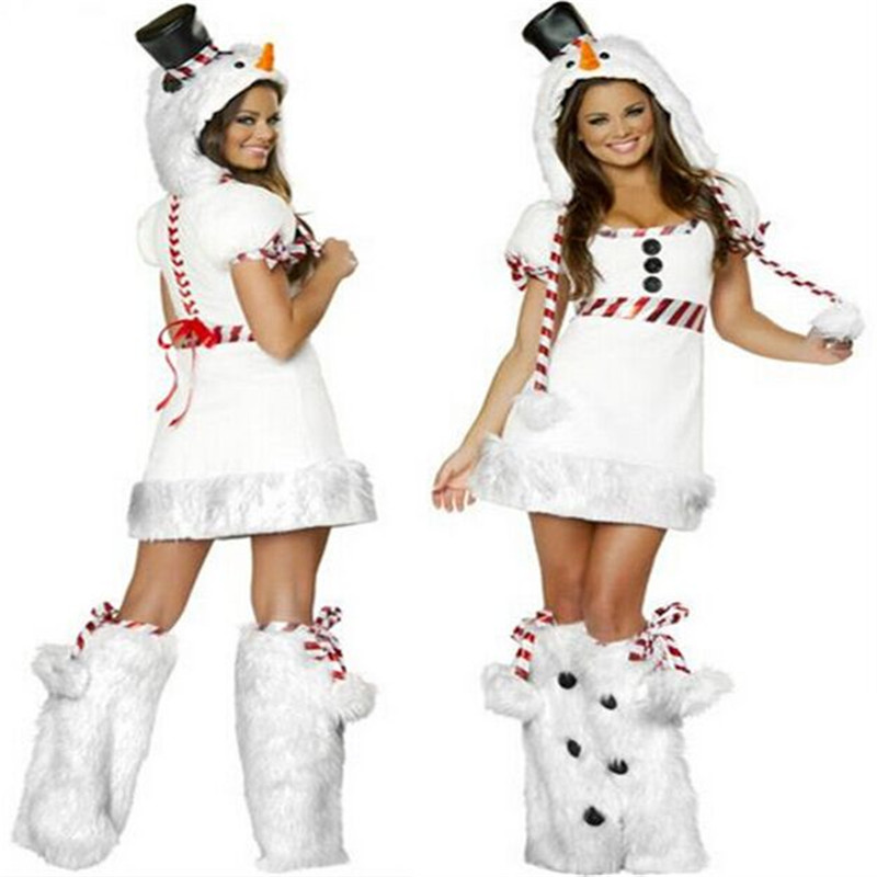 2018 New latest high quality Hot Sale Snowman Mini Dress Costume Women White Christmas Costumes Sexy Snowman Costumes For Women