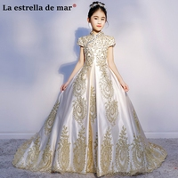 Vestidos de comunion2018 lace satin turtleneck short sleeve fluffy tail ivory color gold flower girl dresses pretty ball gown