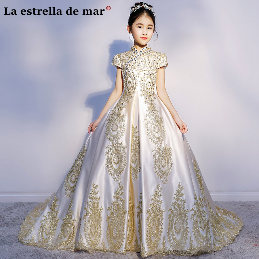 Vestidos de comunion2018 lace satin turtleneck short sleeve fluffy tail ivory color gold   flower     girl     dresses   pretty ball gown