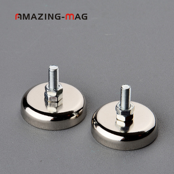 2PC 43KG Powerful Neodymium Magnet Pot D32*8mm Internal M5 Thread Led Light Project Machines Magnetic Holder Mounting Base