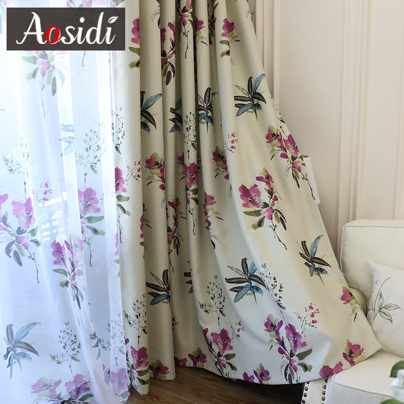 Chinese Purple Flower Blackout Curtains For Living Room
