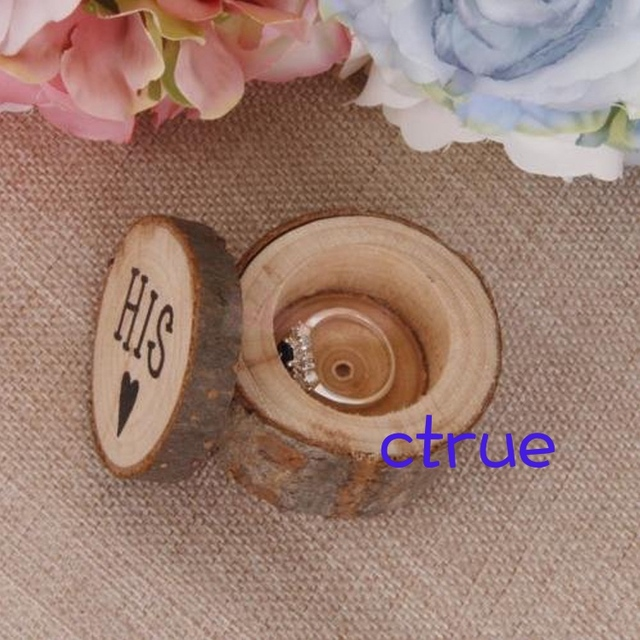 1Pair Wedding Ring Holder Wood Pillow Box Vintage Rustic Decor Chic Wooden Photography Props