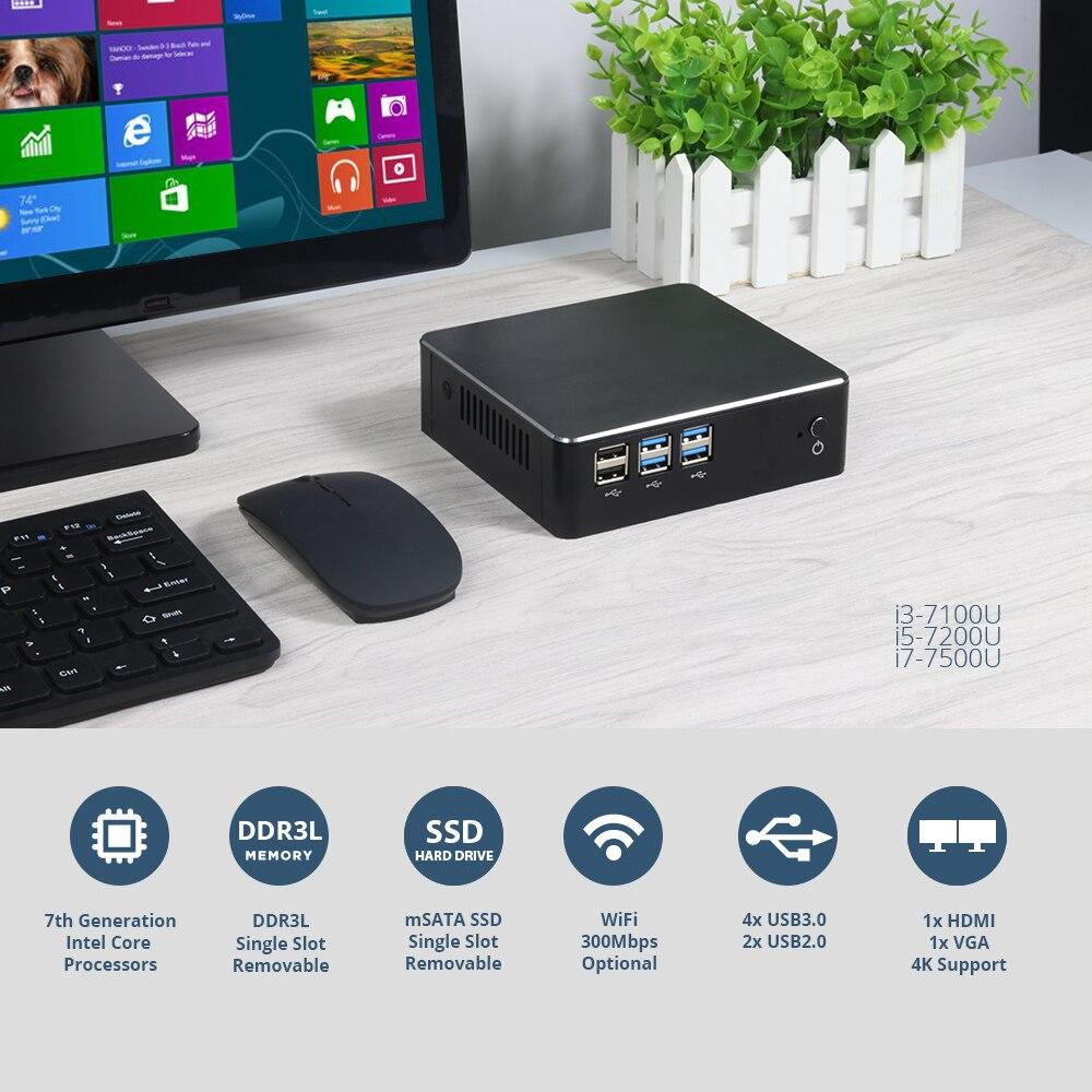 Image 3 - XCY Mini PC Intel Core i7 7500U i5 7200U i3 7100U Windows 10 8GB RAM 480GB SSD 4K UHD HDMI VGA 300M WiFi Gigabit Ethernet-in Mini PC from Computer & Office