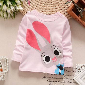 Fashion Children's T-shirt Cartoon Bunny Long Sleeve T-shirt O-neck Cotton Kid's Clothes for 0-5Y Boys Girls Tops & Tees