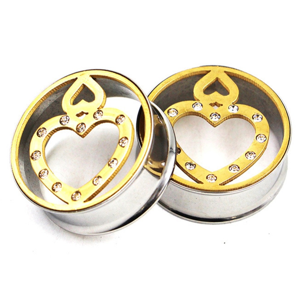 1 Pc Stainless Steel Heart shaped Ear Extension Plugs Double horn Ear Expander Flesh Tunnels Piercing Body Jewelry 8 25mm in Body Jewelry from Jewelry Accessories