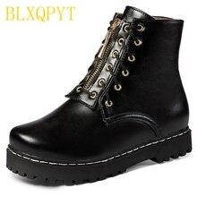BLXQPYT Botas de invierno con hebilla y punta redonda para mujer, zapatos de moda informales con cremallera, tacones hasta el tobillo, 8cm, talla grande 30 52