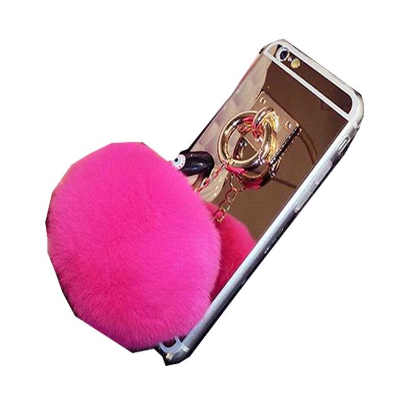 c7ff1bacfcd5d مرآة ماكياج فروي حالة آيفون 8 زائد 7 ثانية 7 زائد 6 ثانية 5 ثانية الحالات  fundas أرنب الكرة الفراء pompom كوكه حالة تغطية ل iphone x 5se