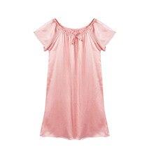 Шелковая ночная рубашка, натуральный шелк, шармез, сатин, шелк, Летний стиль, женская ночная рубашка, с принтом, размера плюс, женская одежда