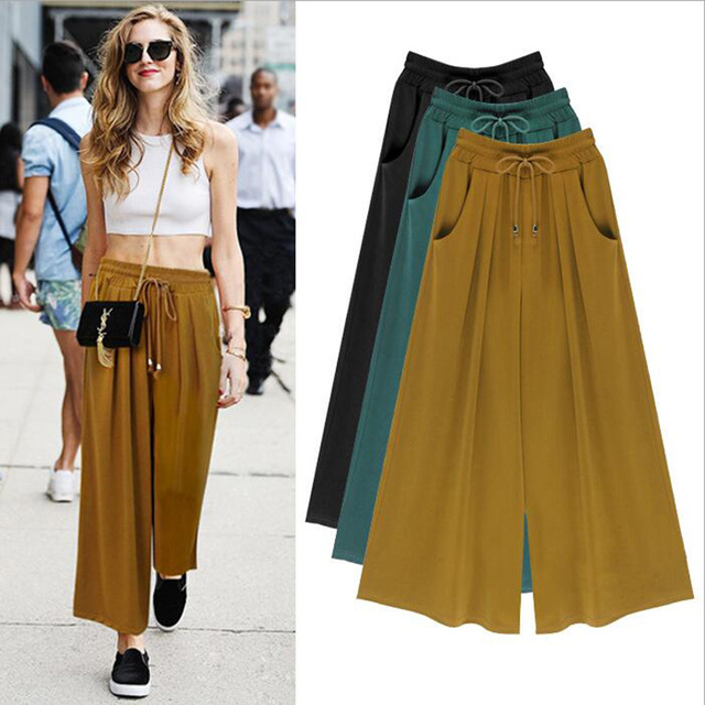 M-6XL Plus Size 2016 New Casual Women Solid Ankle Length Mid Elastic Waist Pleated Drawstring Loose Wide Leg Pants Casual Capris