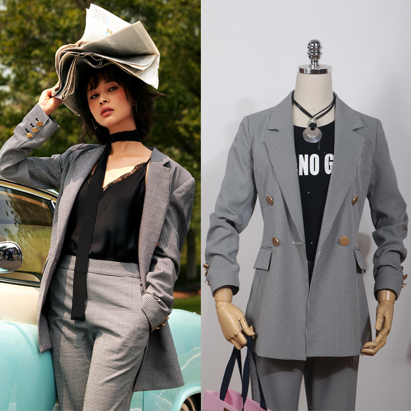 2 piece/Set Formal Ladies Office OL Uniform Designs Women elegant Business Houndstooth pant Suits Work Wear Jacket with Trousers