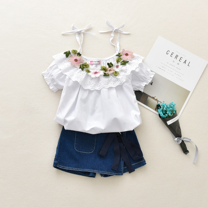 FagorBears Baby Girls Clothing Sets 2018 Summer New Arrival Short Sleeve Flower Shirt +Denim Jeans 2PCS For Children Clothes