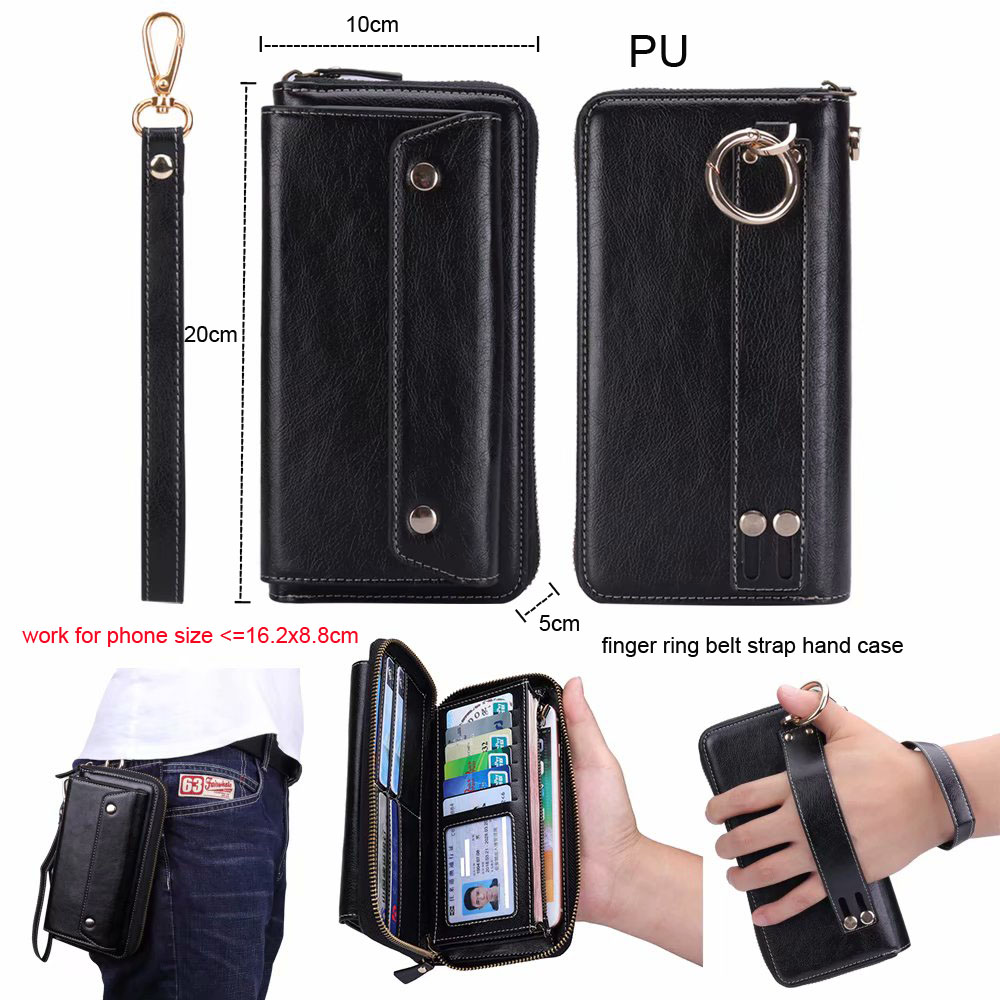 Finger Ring Belt Hand Strap PU Wallet Mobile Phone Case Pouch For Galaxy C7 (2017) J7+/C8/J7 (2017)/S8/S8+ S8 PLUS/Note8/C7 Pro