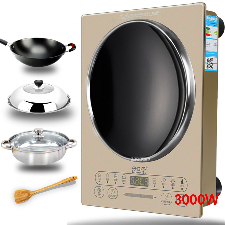 220V/50hz HRZ288 Home concave induction cooker 3000W high power blasted touch screen embedded battery stove 26.5cm Concave dmwd electric induction cooker waterproof high power button magnetic induction cooker intelligent hot pot stove 110v 220v eu us