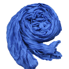 Fashion 2016 New Designer Denim Blue Women Winter Cotton & Linen Blended Solid Echarpes Foulards Fold Candy color Femme Scarves