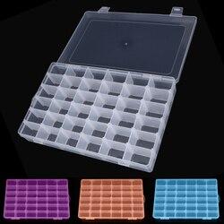 Пластиковая коробка с 36 отделениями и регулируемым отделением для ювелирных изделий