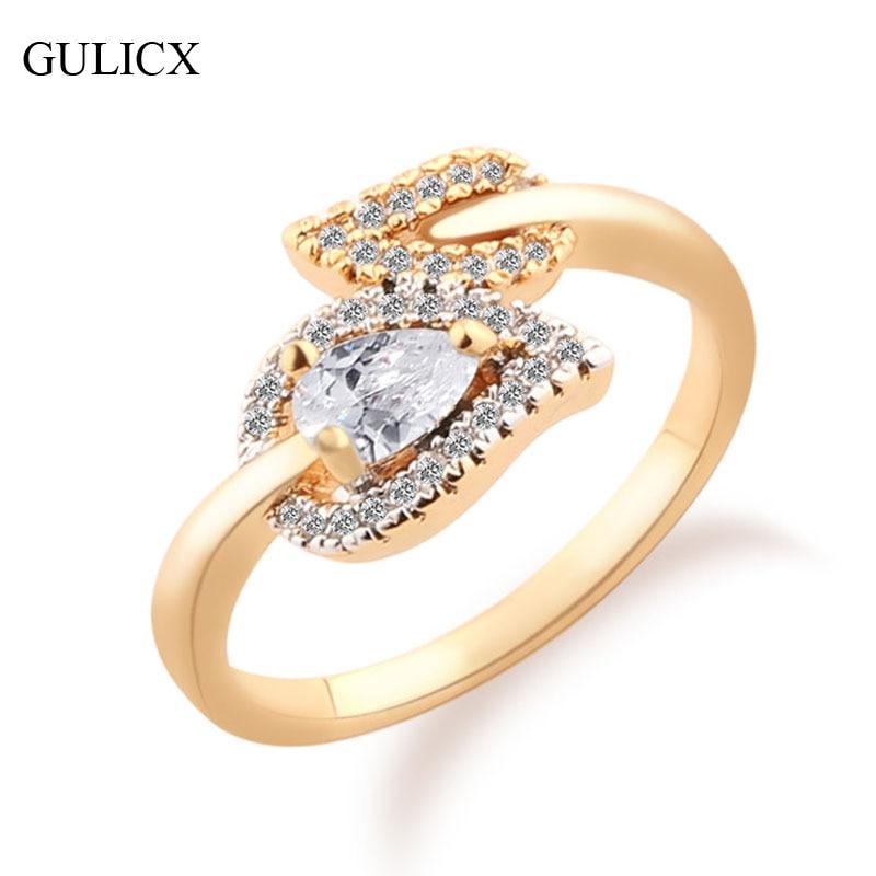 gulicx leaf shape rings for women gold color ring teardrop heart crystal zirconia wedding ring - Teardrop Wedding Rings