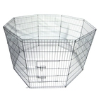 Pet Tall Wire Fence Folding Play Exercise Yard 8 Metal Panel Black -US stock