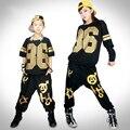 Frete grátis crianças Hip Hop Harem Pants Boy Jazz roupas de dança Popping Set traje de dança personalizado t-shirt para as mulheres o