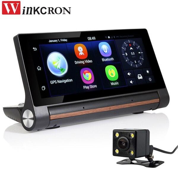 7 дюймов 3G Android GPS навигации Bluetooth, Wi Fi dashboad DVR FHD 1080 P тире Камера Двойной объектив дополнительно видеорегистратор заднего вида камера