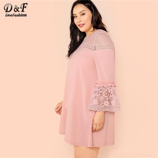 Dotfashion Plus Size Guipure Lace Insert Frill Trim Dresses Ladies Spring Fall Pink Elegant Flounce Sleeve A-Line Plain Dress 3
