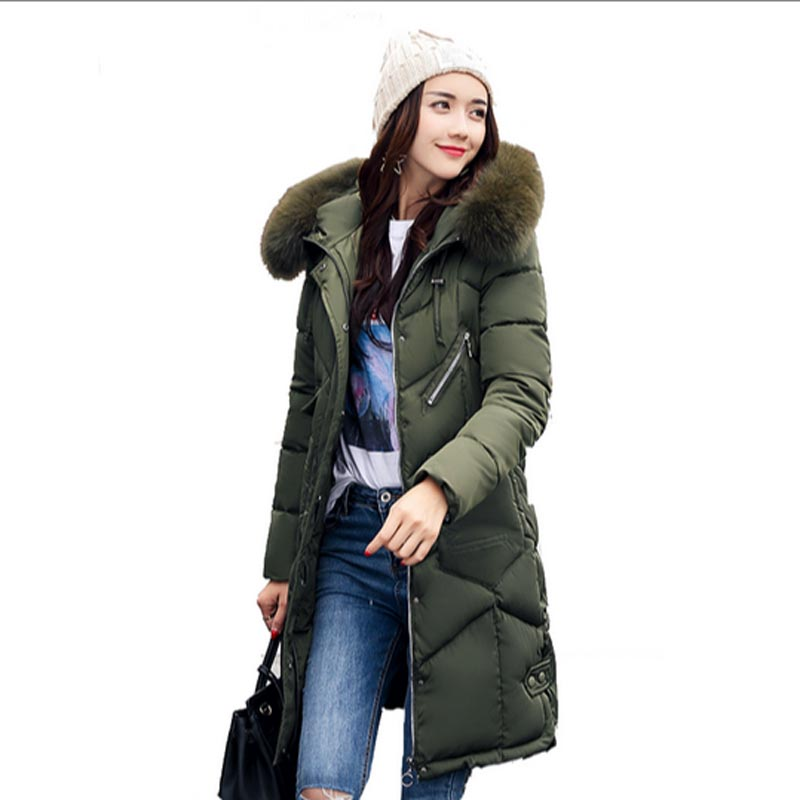 Winter Jacket Women 2017 new women thicker cotton coat hooded Artificial Fur collar Parkas warm Women Long Jackets Coats QH0259 winter new down jacket women 2017 oversized luxury fur collar thicker coat in the long section of 20 30 40 years old