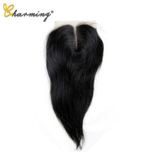 цена на CHARMING Straight Lace Closure Brazilian Natural Color 4*4 Free/Middle/Three Part Non Remy Human Hair Closure 8 to 22 Inch