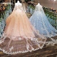LS00140 evening dress long 2018 lace flowers vestidos de festa longo ball gown pink and blue dress long party real photos