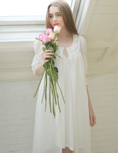 Spring and summer cotton embroidered dressing gown suit  solid half sleeve flounced robe women elegant women nightgown two-piece