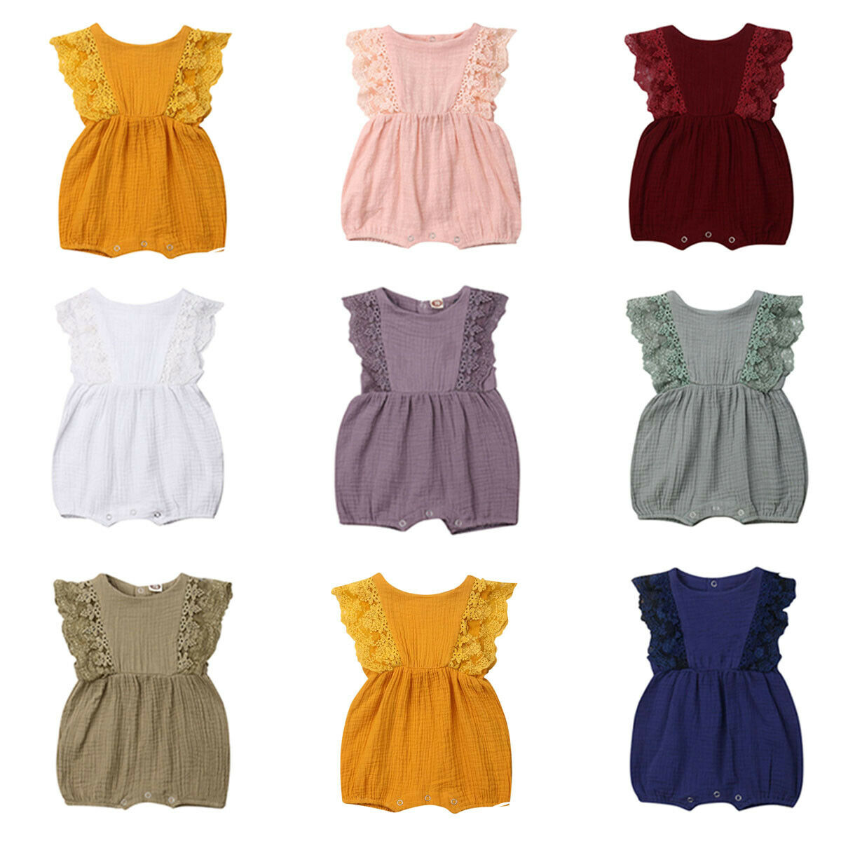 Newborn Baby Girl Clothes Lace Sleeveless Solid Color Ruffle Bodysuit Jumosuit Headband 2pcs Outfit Clothes