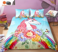 3Pcs 3D Flowers Rainbow Unicorn Bedding Set Pillowcases Duvet Cover Quilt Cover For Kids Queen King Sizes Bedspreads Sj234