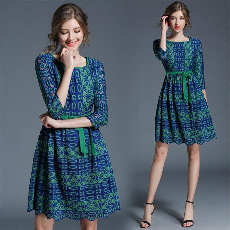 2019 femmes printemps bureau dame une ligne géométrique imprimé robe demi manches empire ceintures mini robe Vestido grande taille femmes robe