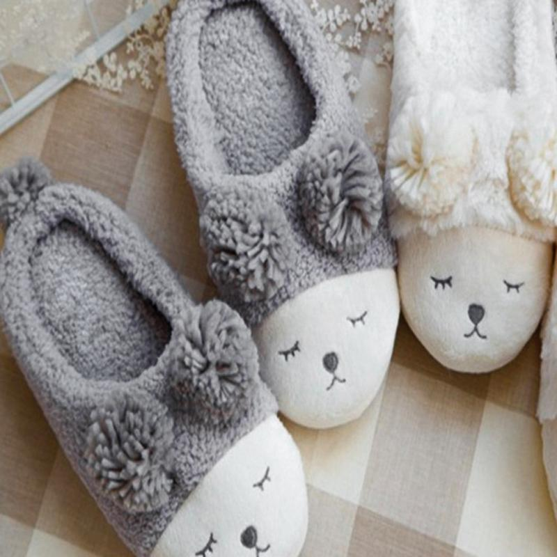 2018 New Cute Sheep Animal Cartoon Women Winter Home Slippers For Indoor Bedroom House Warm Cotton Shoes Adult Plush Flats *829 cotton cute slippers women penguin animal home slippers indoor shoes bedroom house adult guest warm winter soft flats ladies