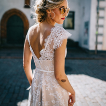 Vintage Champagne Lace Bohemian Wedding Dress A Line Cap Sleeve Sexy Backless Bridal Gown Vestidos de Novia 2019