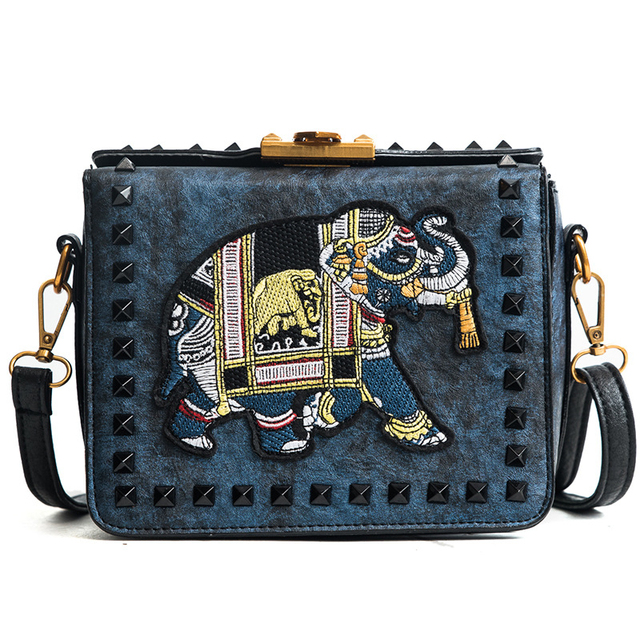 Women Pu Leather Handbags Casual Cross Body Embroidered Elephant Bags S Las Vintage Rivets Small Messenger