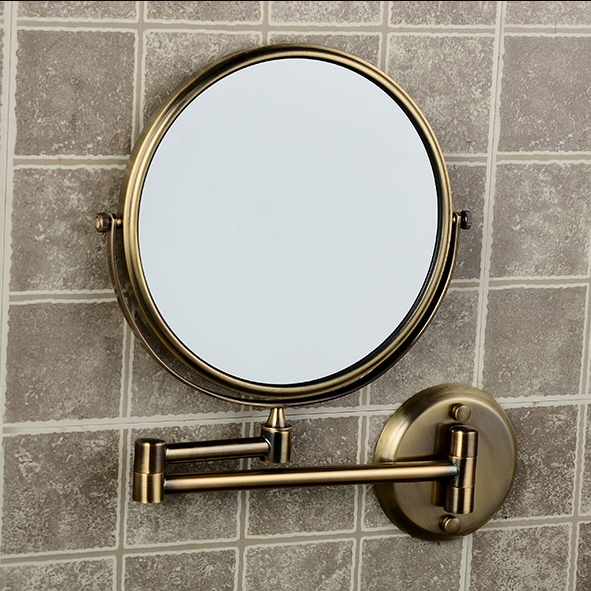 Bath Mirrors 8 Dual Antique Makeup Mirrors 1x3 Magnifier Copper Cosmetic Bathroom Double Faced Wall Mounted Bath Mirror 1308F bakala dual makeup mirrors 1 1 and 1 3 magnifier copper cosmetic bathroom double faced bath mirror wall mirror br 6738