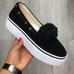 Image 2 - 2019 Spring Women Flats Shoes Platform Sneakers Slip On Flats Leather Suede Ladies Loafers Casual Floral Shoes Women