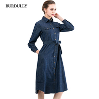 BURDULLY Long Sleeves Denim Dress Women 2018 New Spring Slim Jeans Dresses Large Sizes Long Ladies Mid Calf Dresses Casual XL