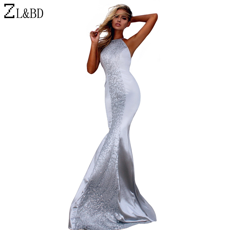 ZL&BD Ladies Elegant Sequined Patchwork Evening Party Long Maxi Mermaid Dress Vestido Women Sexy Backless Bandage Dress ZA636